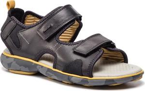 Buty letnie męskie Geox w stylu casual na rzepy ze skóry