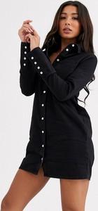 Czarna sukienka Asos Design z długim rękawem mini koszulowa