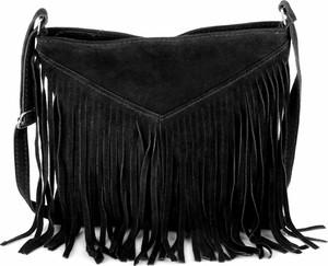 Czarna torebka GENUINE LEATHER średnia z frędzlami