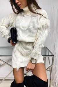 Sukienka LIMONKA mini z golfem z długim rękawem