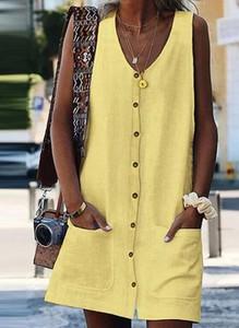Żółta sukienka Arilook szmizjerka mini w stylu boho