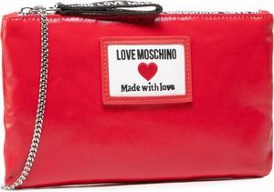 Czerwona torebka Love Moschino matowa na ramię ze skóry