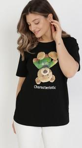 T-shirt born2be z krótkim rękawem z nadrukiem z okrągłym dekoltem
