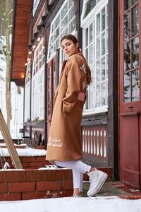 Płaszcz Naoko w stylu casual z wełny