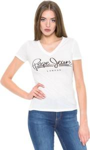 T-shirt Pepe Jeans z krótkim rękawem z dekoltem w kształcie litery v w młodzieżowym stylu