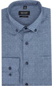 Niebieska koszula Recman z długim rękawem z kołnierzykiem button down w stylu casual