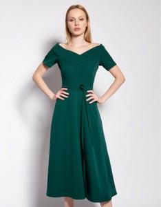 Zielona sukienka Lanti z krótkim rękawem midi