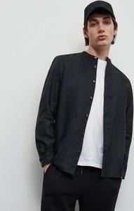 Czarna koszula Reserved z długim rękawem z lnu