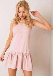 Różowa sukienka Sheandher.pl z okrągłym dekoltem z bawełny