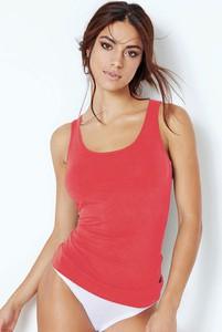 Czerwona bluzka Jadea w stylu casual z bawełny z okrągłym dekoltem