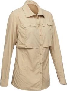 Brązowa koszula Forclaz z długim rękawem w militarnym stylu z kołnierzykiem