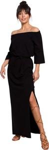 Czarna sukienka Be z długim rękawem maxi z dzianiny