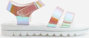 Srebrne buty dziecięce letnie Reserved na rzepy w paseczki