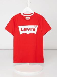 Czerwona koszulka dziecięca Levis Kids z bawełny
