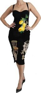 Czarna sukienka Dolce & Gabbana midi bodycon na ramiączkach