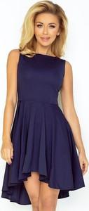 Niebieska sukienka NUMOCO z dekoltem w łódkę mini bez rękawów