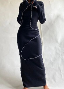 Czarna sukienka Arilook z okrągłym dekoltem z dresówki maxi