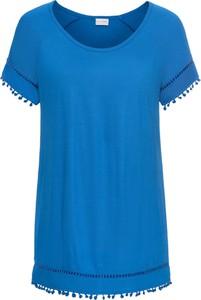 Niebieska bluzka bonprix bodyflirt z krótkim rękawem