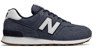 Granatowe buty New Balance sznurowane w sportowym stylu