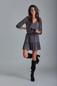 Granatowa sukienka Ivon oversize z dekoltem w kształcie litery v w stylu casual