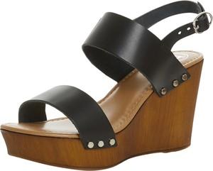 Czarne sandały DUNE LONDON z klamrami na platformie