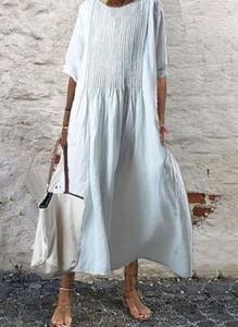 Sukienka Cikelly z okrągłym dekoltem midi z długim rękawem