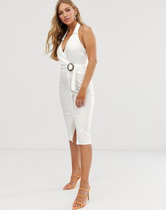 Sukienka Asos Design na ramiączkach z dekoltem halter z lnu