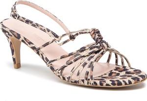 Brązowe sandały L37 w stylu casual ze skóry na średnim obcasie