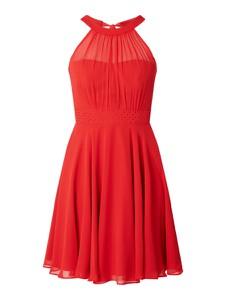 Czerwona sukienka Paradi z szyfonu mini rozkloszowana