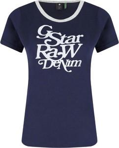 Niebieski t-shirt G-Star Raw z okrągłym dekoltem