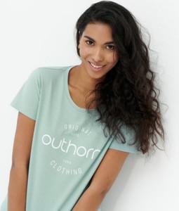 T-shirt Outhorn z bawełny z okrągłym dekoltem w młodzieżowym stylu
