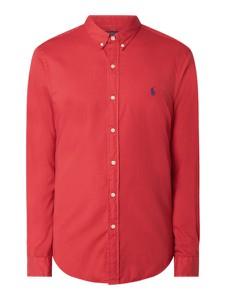 Czerwona koszula POLO RALPH LAUREN z klasycznym kołnierzykiem z długim rękawem