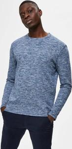 Niebieski sweter Selected Homme w stylu casual z okrągłym dekoltem