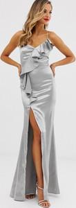 Srebrna sukienka City Goddess maxi