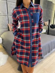Sukienka ModnaKiecka.pl mini z jeansu z długim rękawem