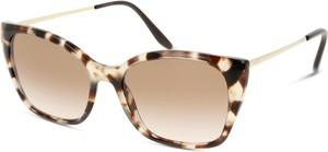 Złote okulary damskie Prada