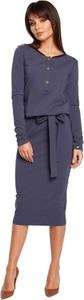 Niebieska sukienka Be ołówkowa z długim rękawem