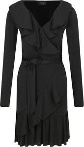 Czarna sukienka Liu-Jo z dekoltem w kształcie litery v z długim rękawem
