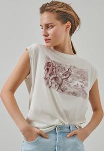 T-shirt Reserved z bawełny z krótkim rękawem z nadrukiem