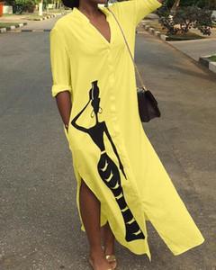 Żółta sukienka Kendallme w stylu casual maxi koszulowa