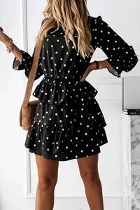 Czarna sukienka IVET z długim rękawem mini
