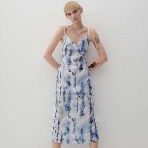 Sukienka Reserved z dekoltem w kształcie litery v maxi trapezowa