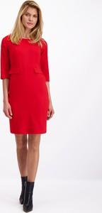 Czerwona sukienka Lavard mini z wełny z długim rękawem