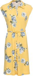 Żółta sukienka bonprix BODYFLIRT z dżerseju bez rękawów z kołnierzykiem