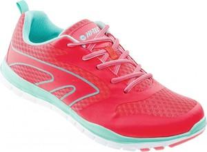 Czerwone buty sportowe Hi-Tec z płaską podeszwą sznurowane