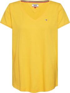 Bluzka Tommy Jeans z krótkim rękawem z dekoltem w kształcie litery v w młodzieżowym stylu