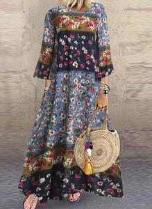 Sukienka Arilook z okrągłym dekoltem w stylu boho z długim rękawem
