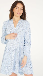 Sukienka Unisono w stylu casual z dekoltem w kształcie litery v z długim rękawem