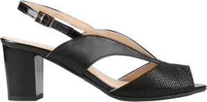 Czarne sandały Conhpol Relax na obcasie w stylu klasycznym