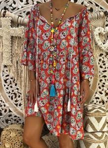 Sukienka Sandbella z długim rękawem w stylu boho mini